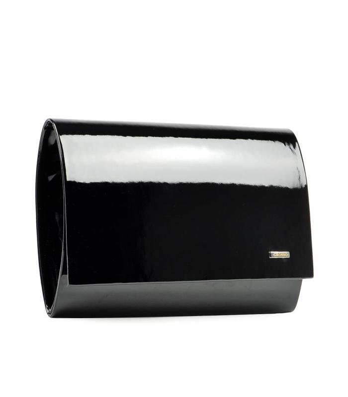 Luxusní černá lakovaná dámská listová kabelka SP100 GROSSO