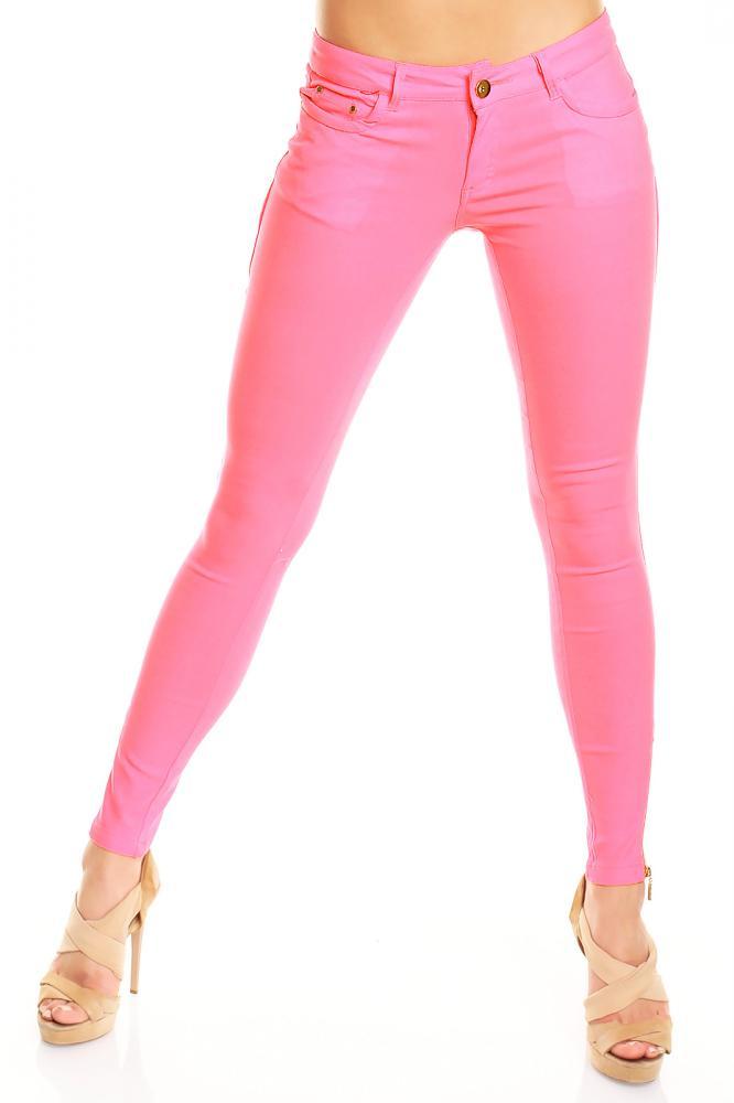 Dámské skinny džíny růžové