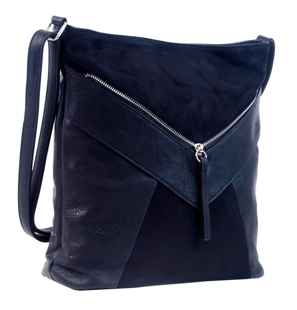 Tmavě modrá dámská crossbody kabelka se semišem H17418