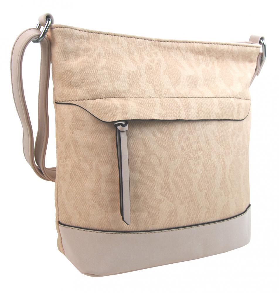 Crossbody kabelka s čelní zipovou přihrádkou HB062 béžová