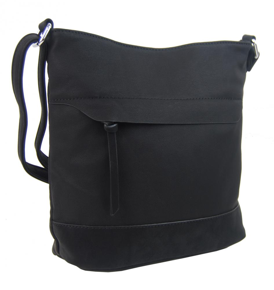 Crossbody kabelka s čelní zipovou přihrádkou HB062 černá