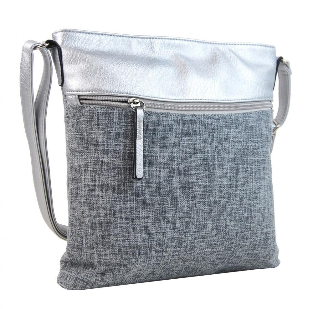 Šedá dámská textilní crossbody kabelka se stříbrnými doplňky H16175