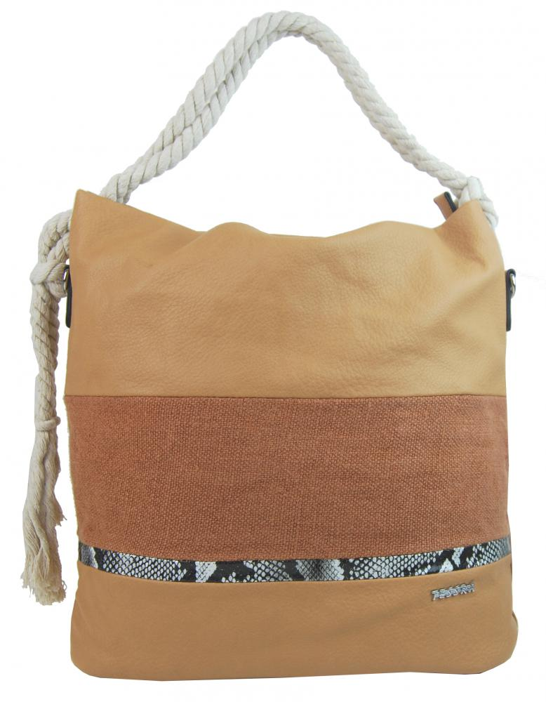 Velká hnědá dámská kabelka s lanovými uchy 4543-BB