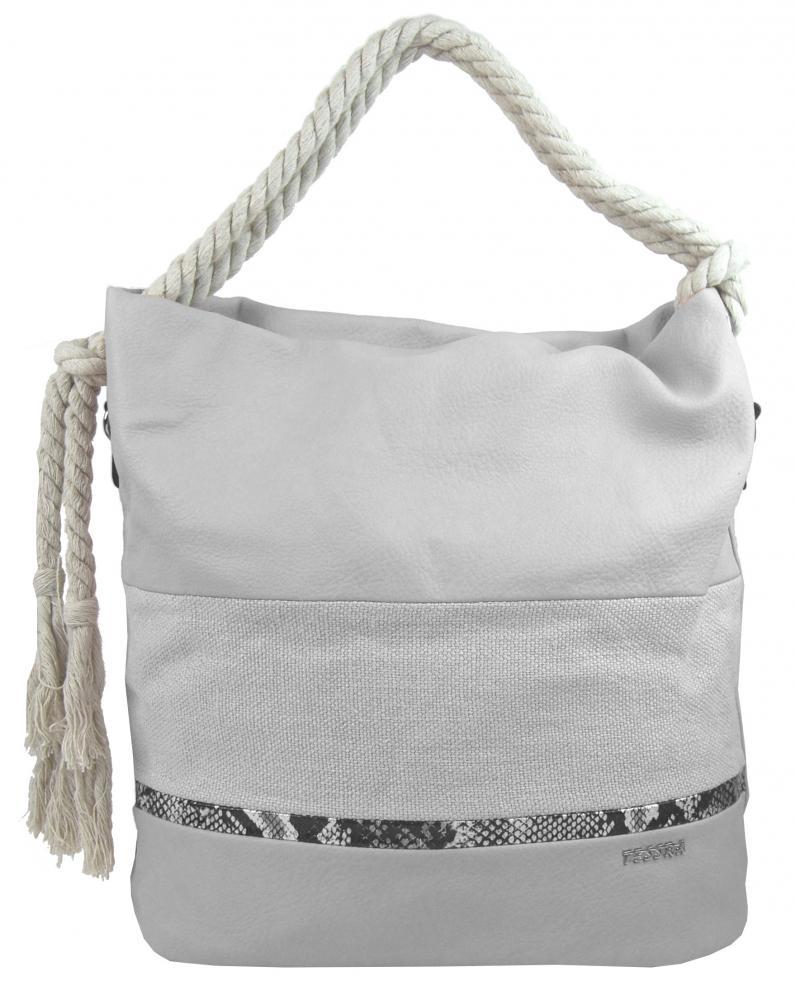 Velká šedá dámská kabelka s lanovými uchy 4543-BB