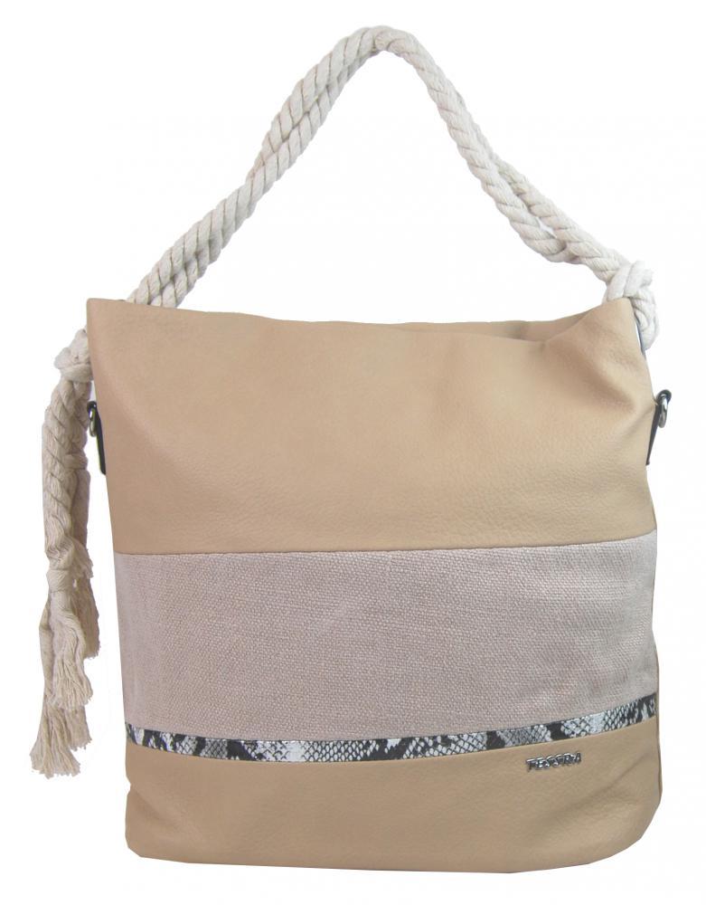Velká tělově hnědá dámská kabelka s lanovými uchy 4543-BB