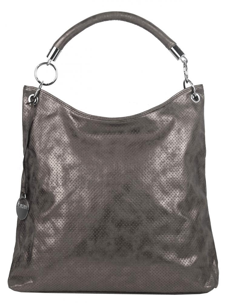 Moderní velká metalická kabelka přes rameno 665-MH šedá