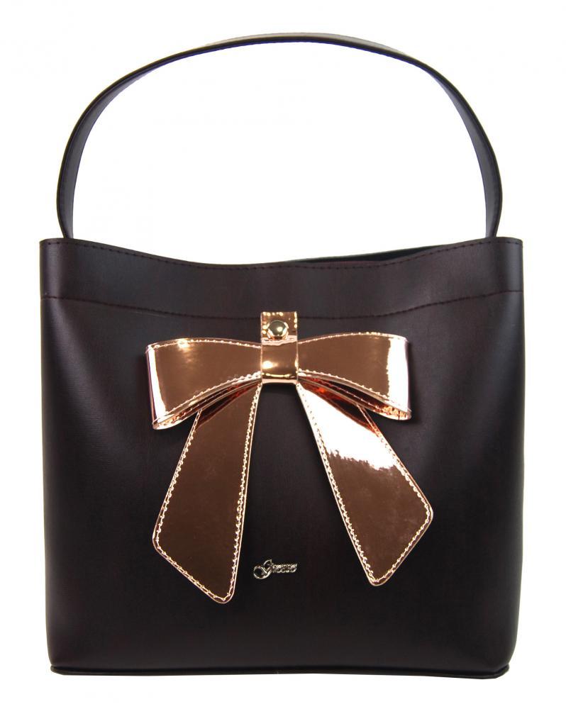 Bordová dámská kabelka do ruky s mašlí S755 GROSSO