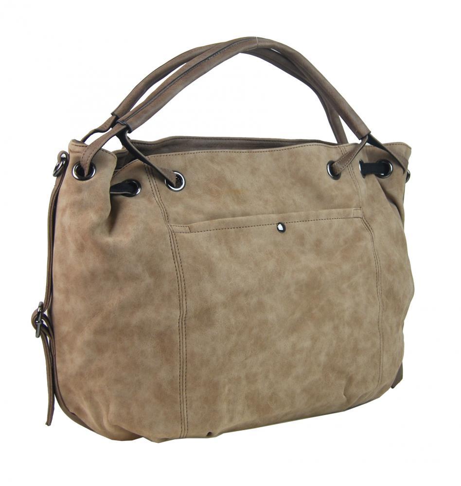 Velká dámská kabelka z broušené ekokůže H16093 světlá hnědá  b84a096e405