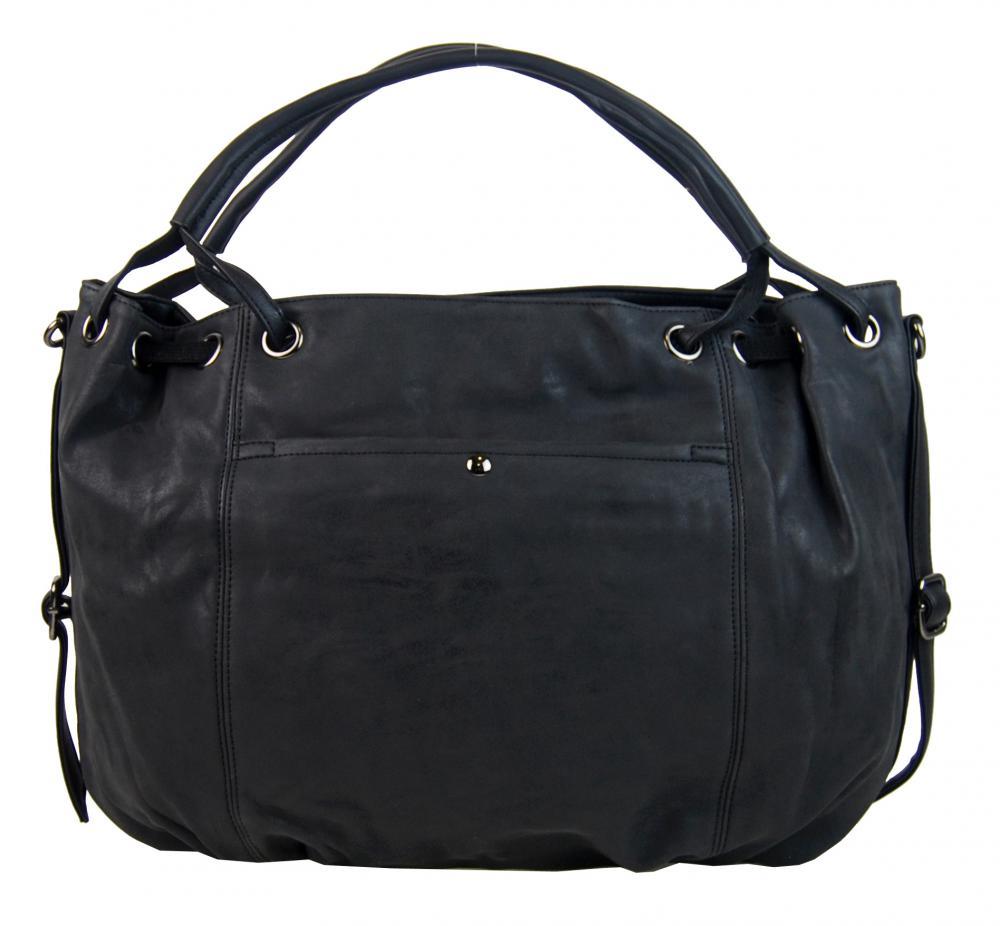 Velká dámská kabelka z broušené ekokůže H16093 černá