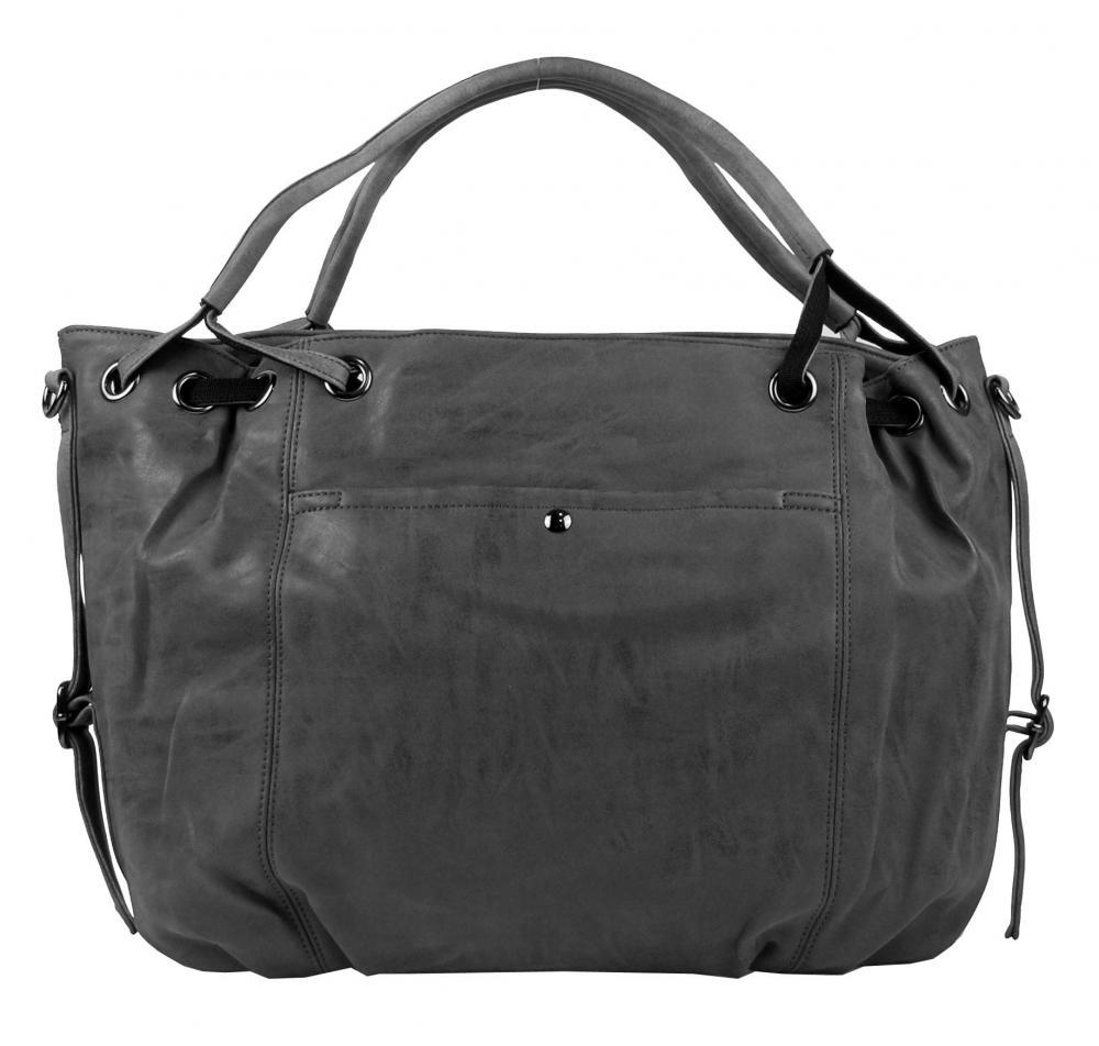 Velká dámská kabelka z broušené ekokůže H16093 tmavá šedá