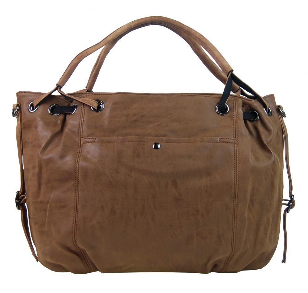 Velká dámská kabelka z broušené ekokůže H16093 tmavá hnědá