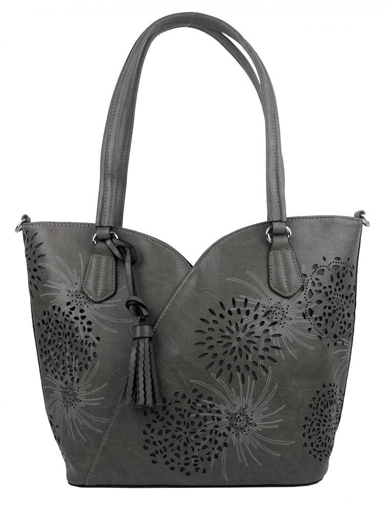 Tmavě šedá dámská kabelka přes rameno 4394-BB