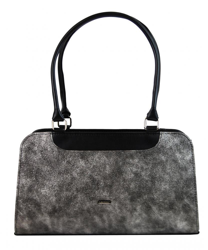 GROSSO Černo-stříbrná patinovaná vyztužená dámská kabelka 88809bd75e7