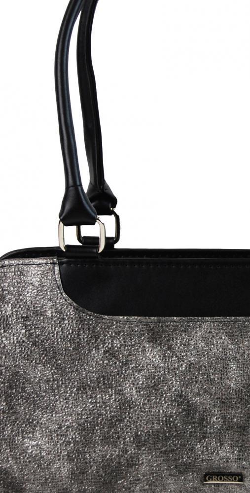 GROSSO Černo-stříbrná patinovaná vyztužená dámská kabelka. GROSSO Černo-stříbrná  patinovaná vyztužená dámská kabelka df76241c0aa