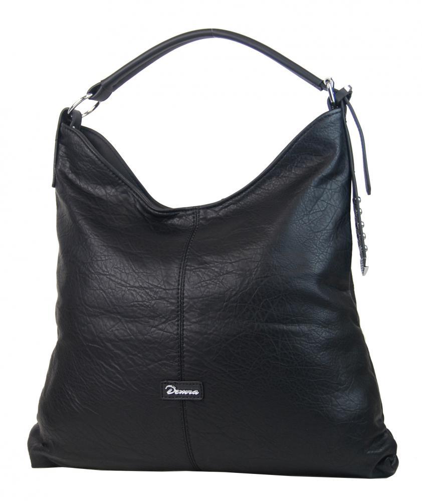 Moderní velká černá kombinovaná dámská kabelka 3753-DE