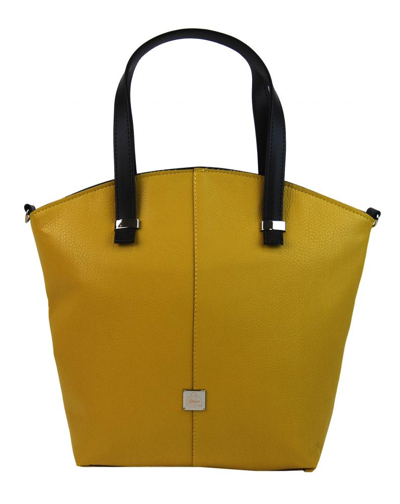 Velká hořčicově žlutá dámská shopper kabelka S618 GROSSO  64c8df91617