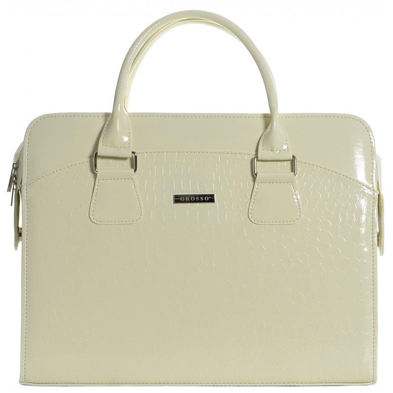 """Dámska luxusná taška na notebook béžový lak kroko ST01 15.6"""" GROSSO"""