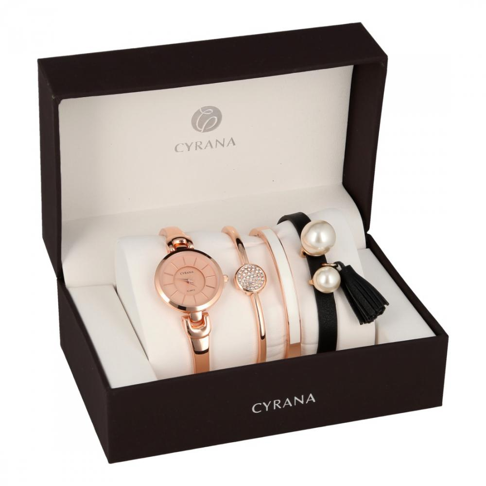 CYRANA dámská dárková sada hodinek s náramky GV19033-M1