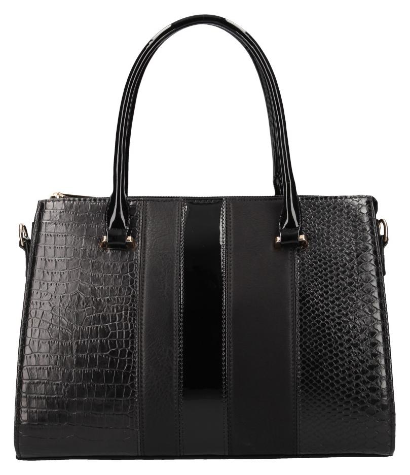 Černá italská dámská kabelka v kroko designu Dudlin 1330-27