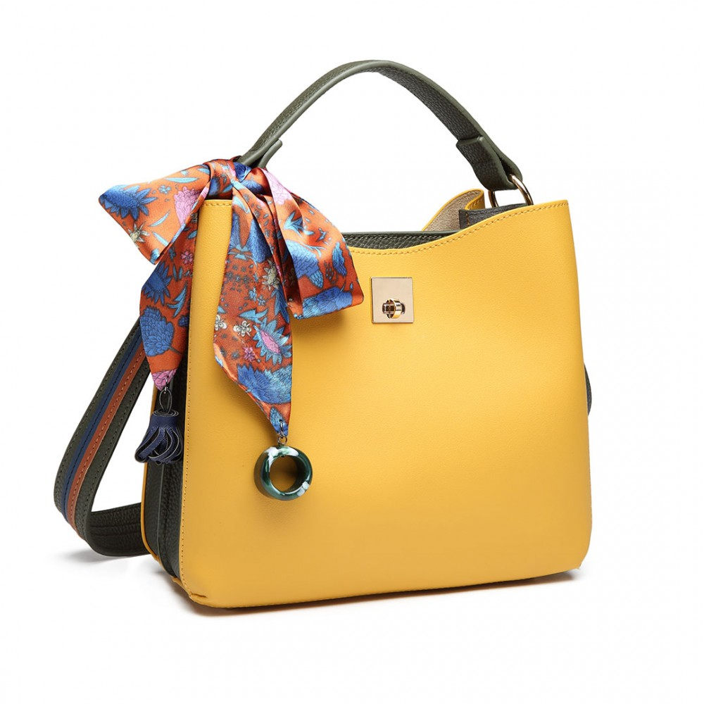 Menší žluto-zelená kabelka do ruky s dekoratívním šátkem Miss Lulu