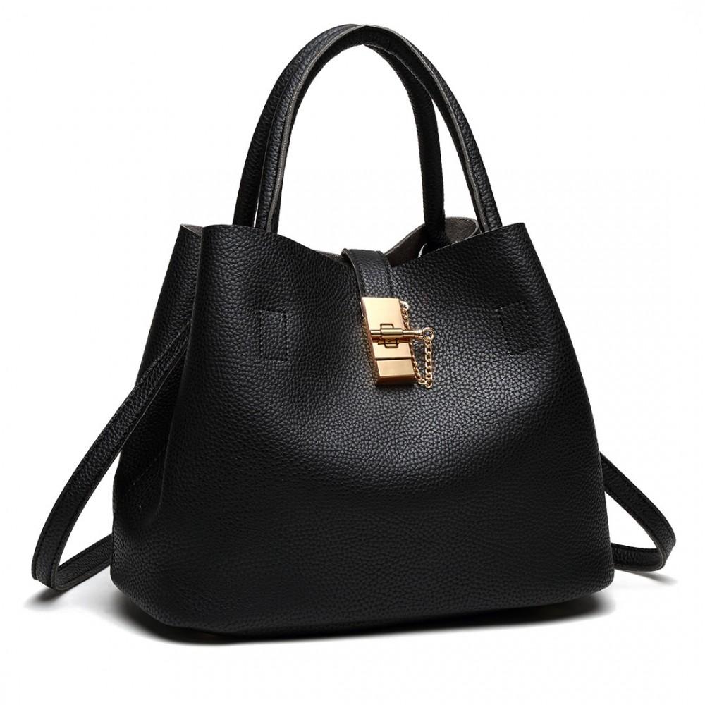 Čierna moderná kabelka so zámkom Miss Lulu