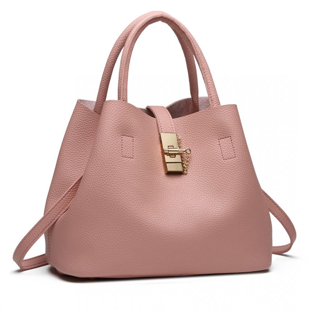 Ružová moderná kabelka so zámkom Miss Lulu
