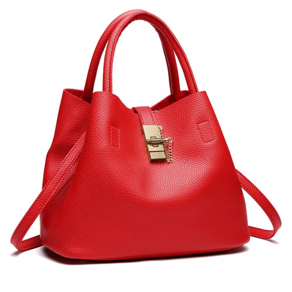 Červená moderná kabelka so zámkom Miss Lulu