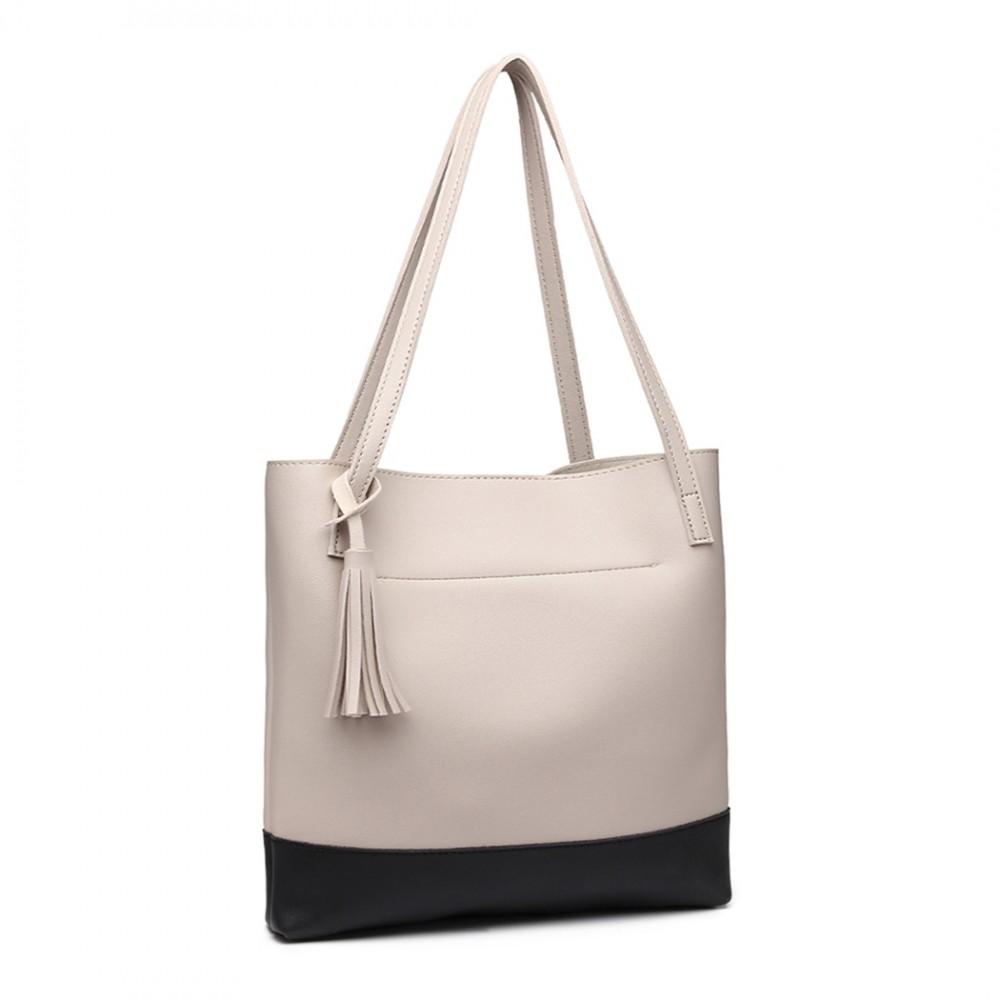 Světle šedá kabelka přes rameno Miss Lulu