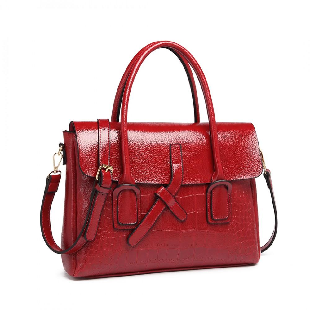Burgundská červená menší dámská aktovková kroko kabelka Miss Lulu