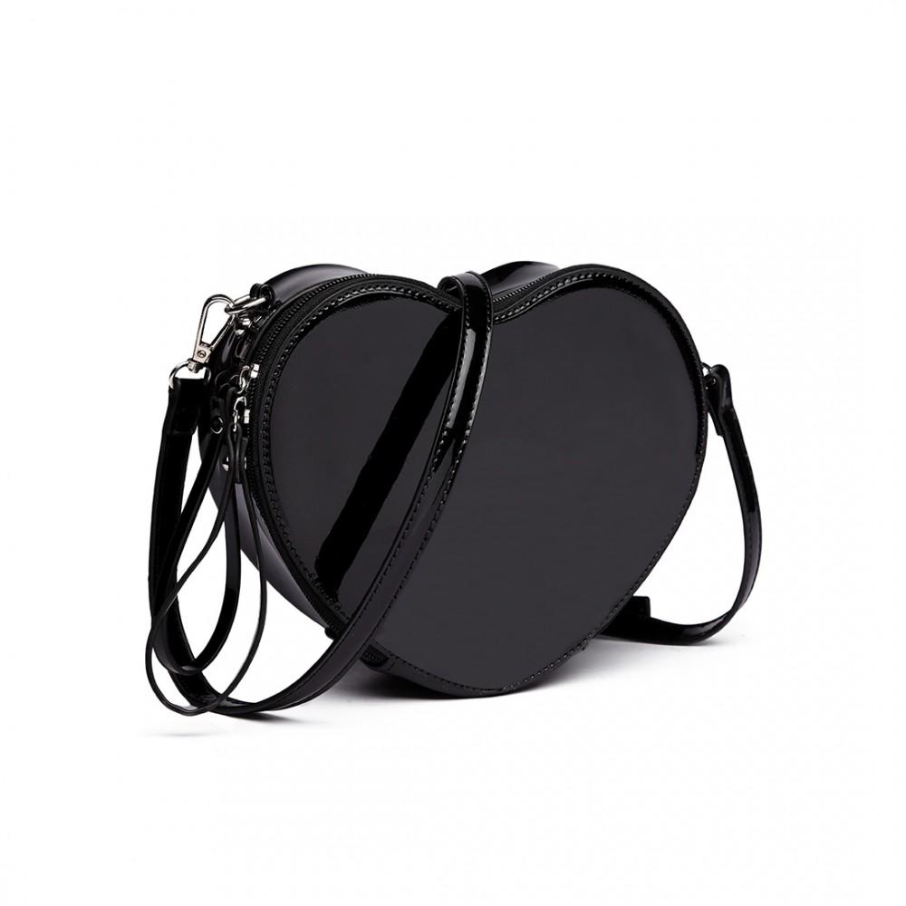 Čierna menšia crossbody dámska kabelka v tvare srdca Miss Lulu 786e702f2e7