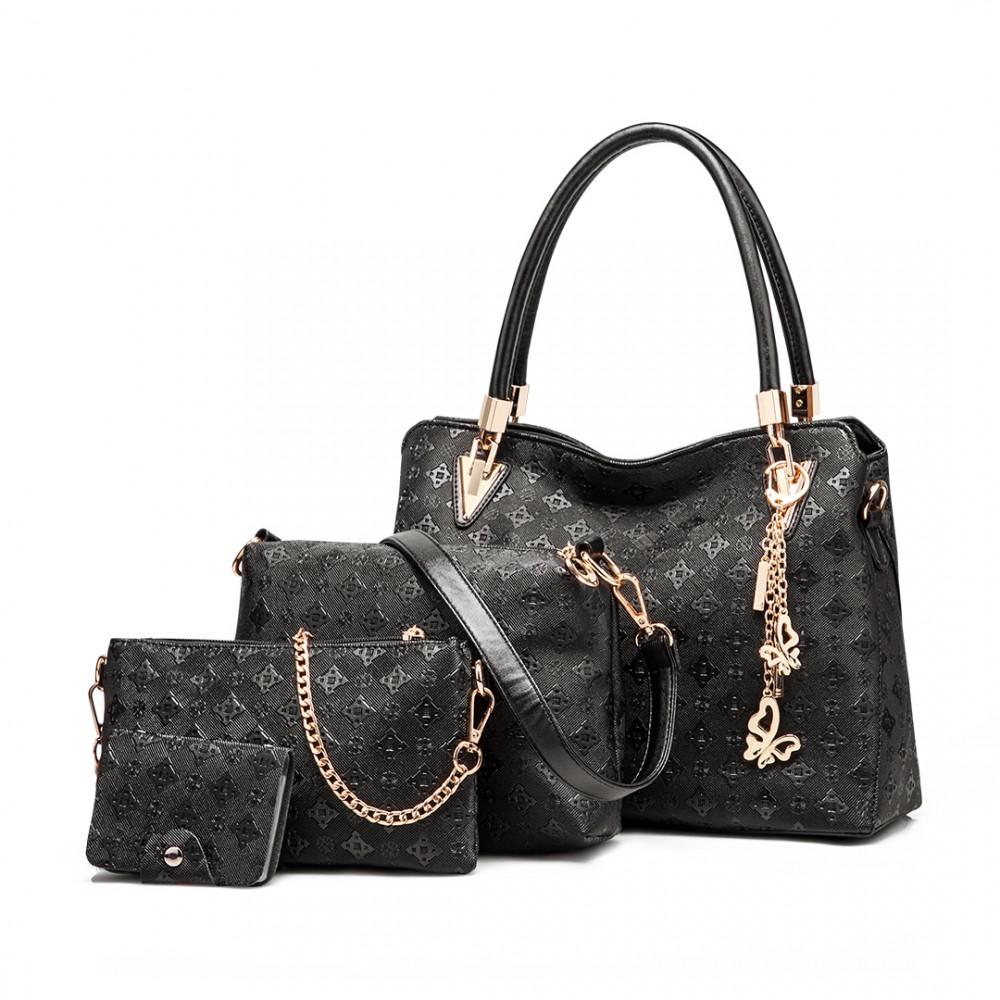 Praktický dámsky kabelkový set 4v1 Miss Lulu čierna