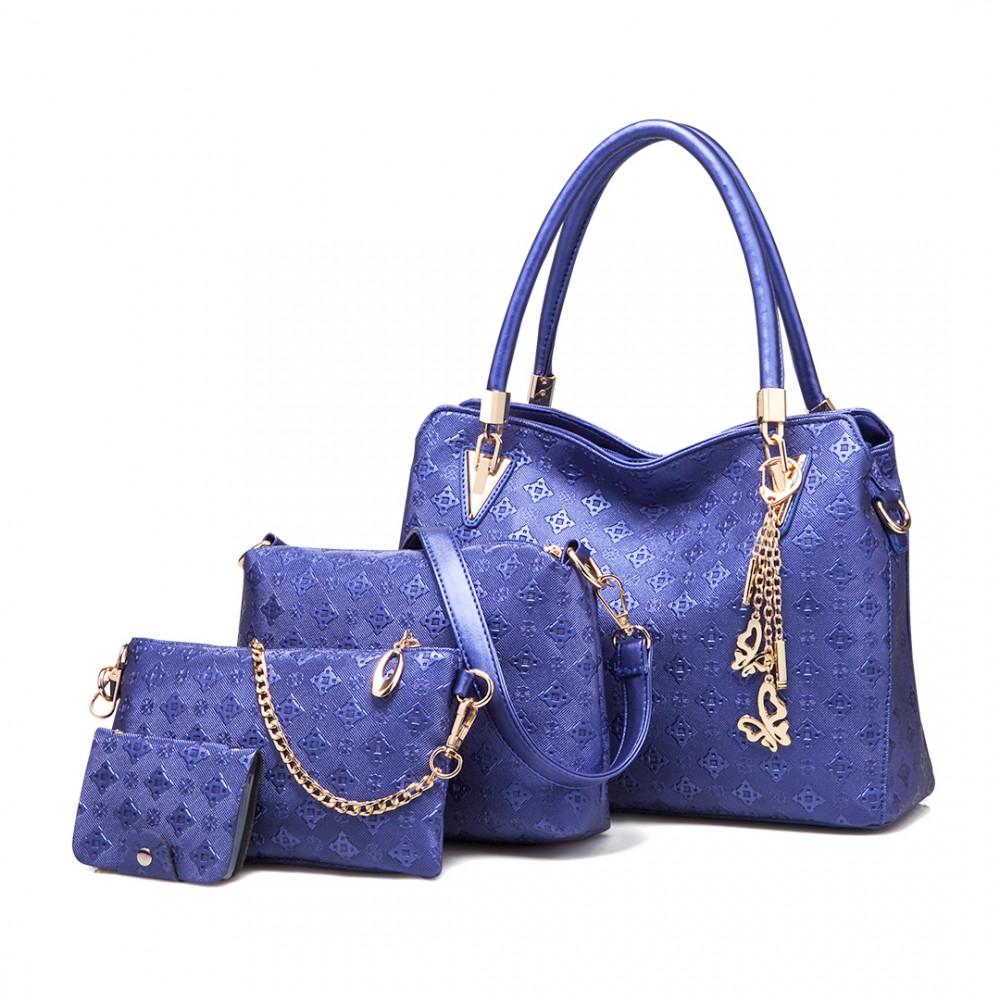 Praktický dámsky kabelkový set 4v1 Miss Lulu modrá
