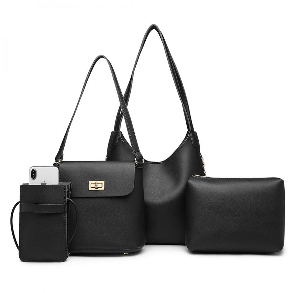 Praktický dámsky kabelkový set cez rameno 4v1 Miss Lulu čierna
