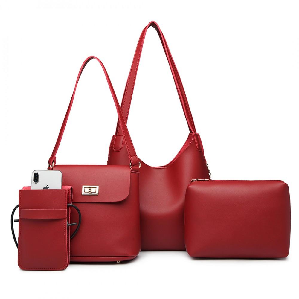 Praktický dámsky kabelkový set cez rameno 4v1 Miss Lulu červená