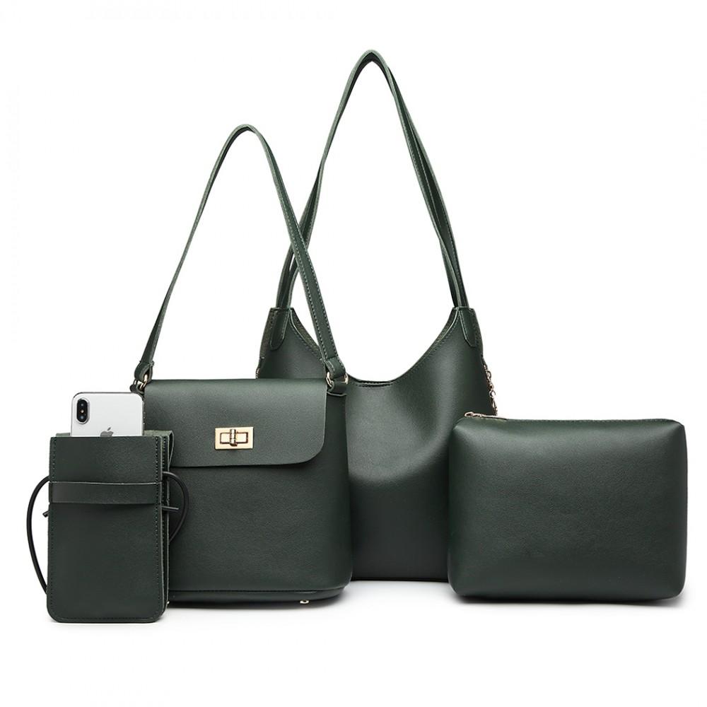 Praktický dámsky kabelkový set cez rameno 4v1 Miss Lulu zelená