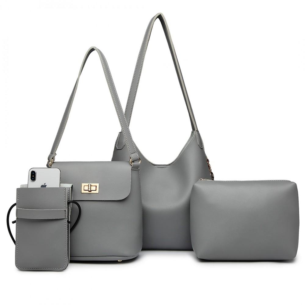 Praktický dámsky kabelkový set cez rameno 4v1 Miss Lulu sivá