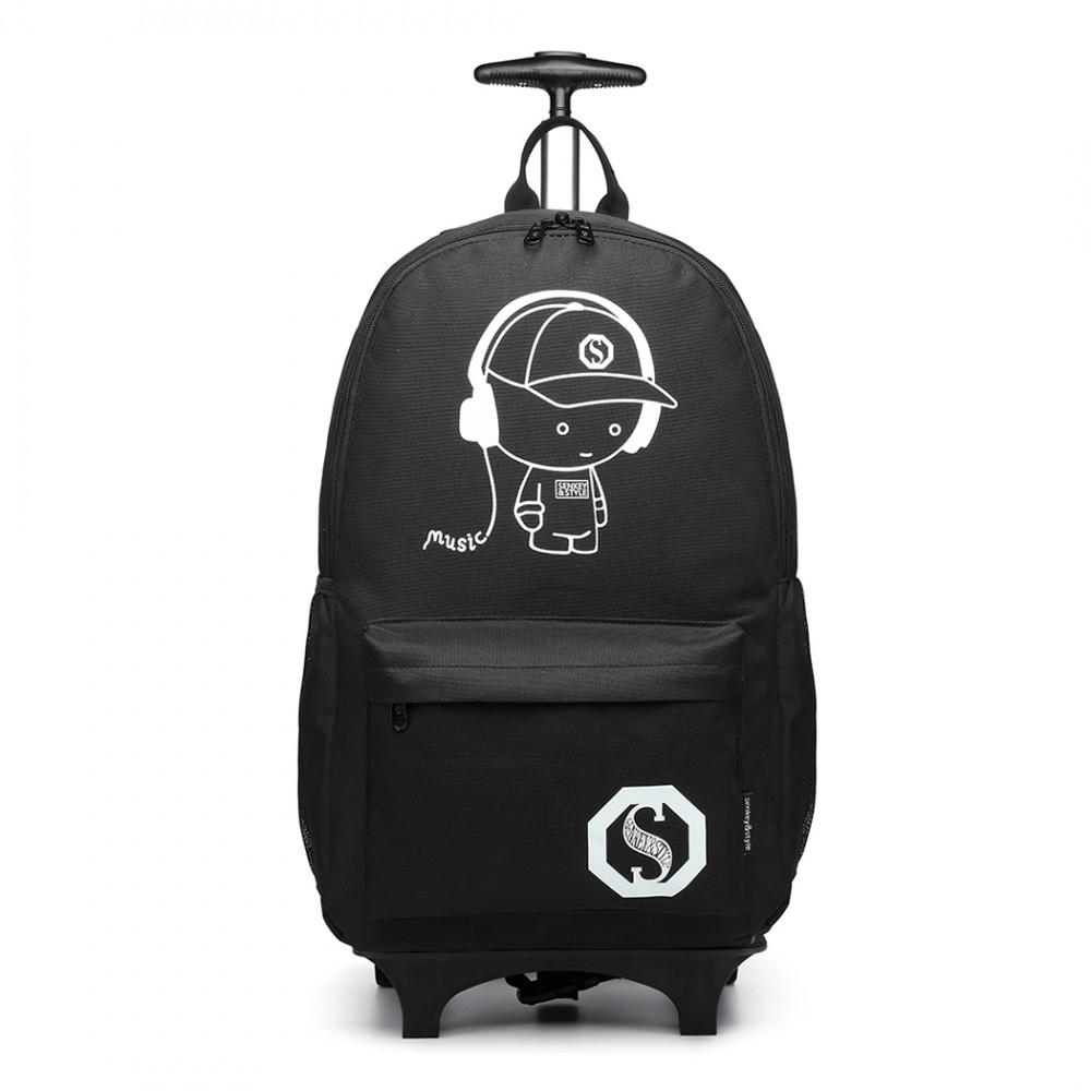 KONO multifunkční černý batoh na kolečkách, září ve tmě