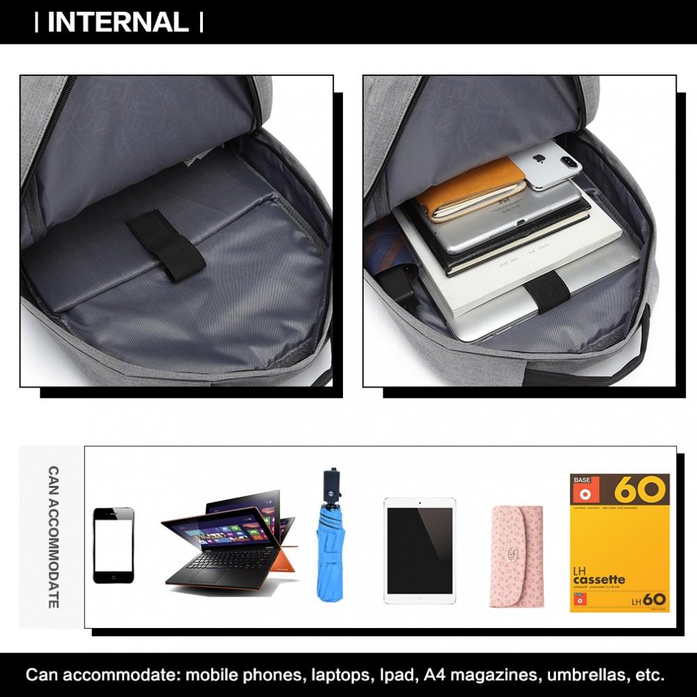 KONO šedý elegantní batoh nepromokavý s USB portem UNISEX  9333fc7019