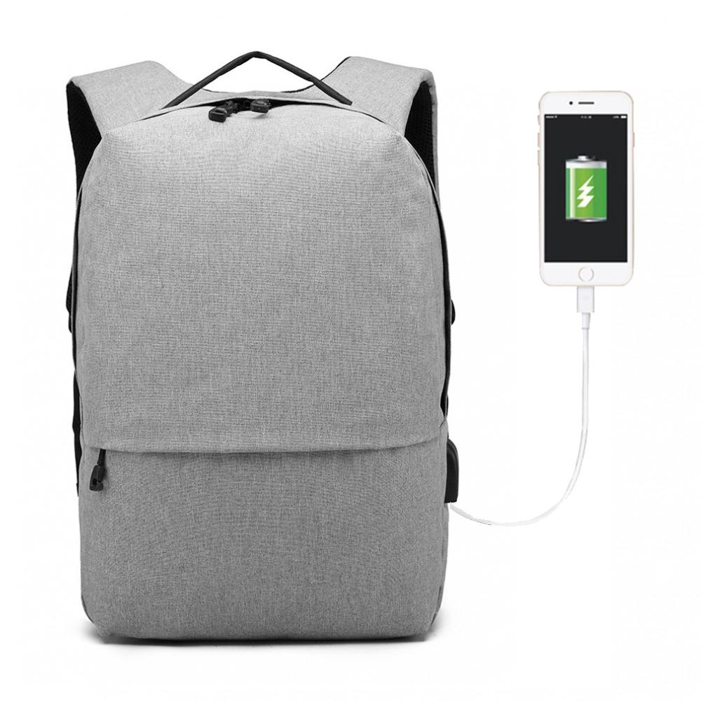 KONO šedý elegantní batoh nepromokavý s USB portem UNISEX