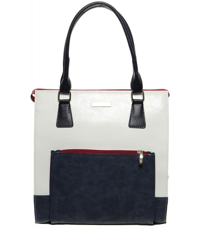 Bielo-modro-červená elegantná vysoká kabelka S659 GROSSO