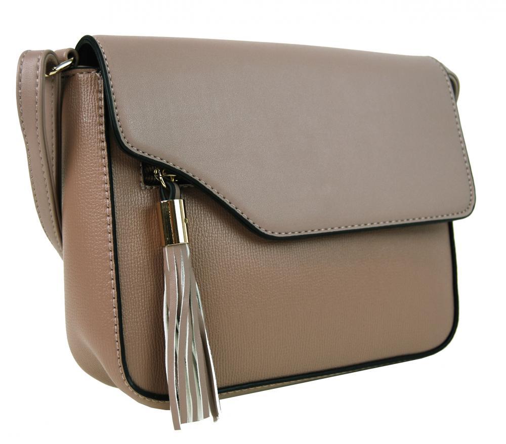 Pozdĺžna crossbody kabelka s ozdobou F008 prírodná hnedá