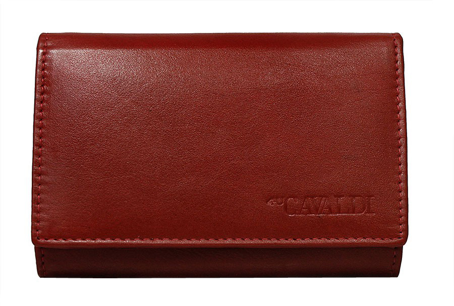 Červená dámská kožená peněženka v krabičce Cavaldi