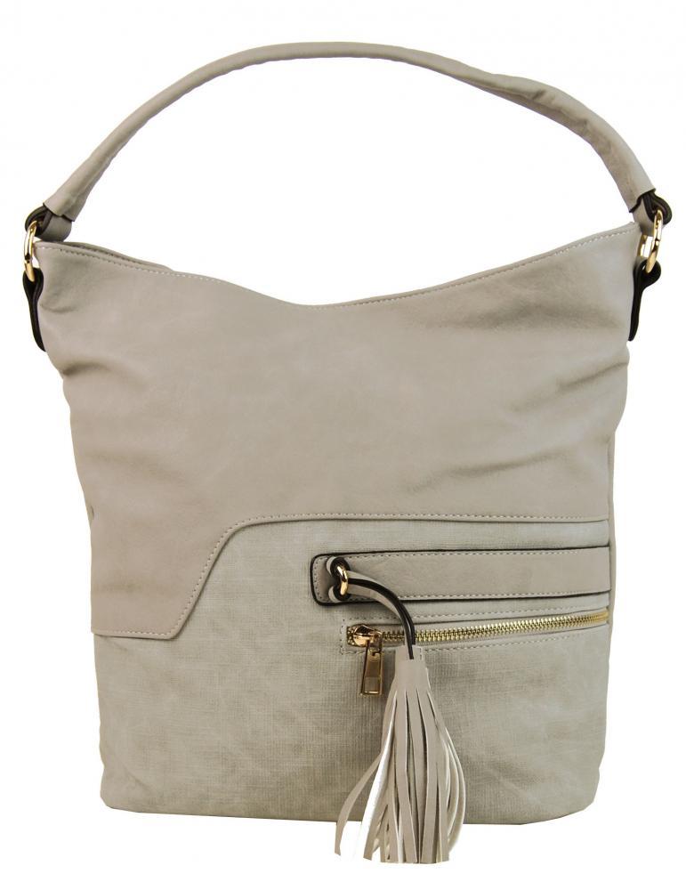 Elegantná kombinovaná dámska crossbody kabelka F1349 krémovo šedá