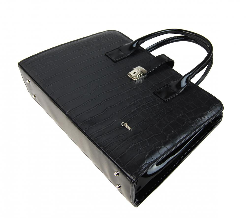 acdfddc8e2 Elegantní dámská aktovka v černém krokodýlím laku S563 GROSSO