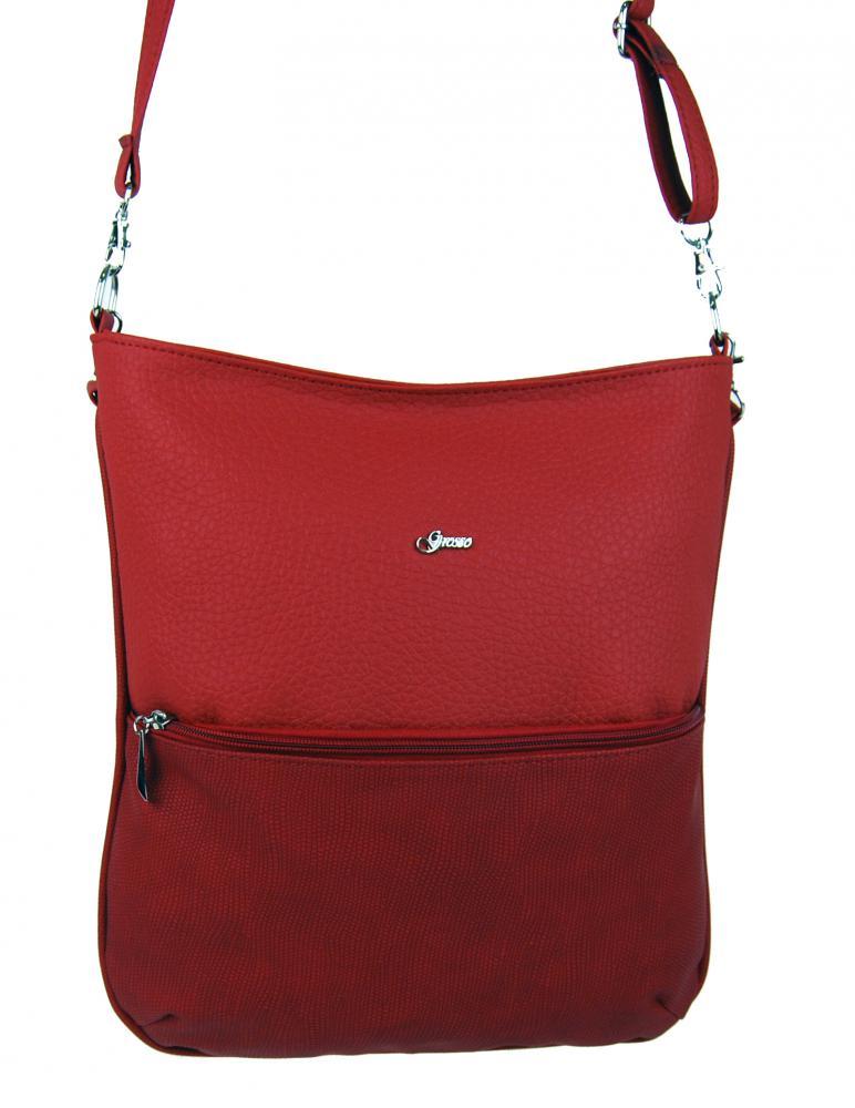 Červená hadia crossbody taška so zipsom M204 GROSSO