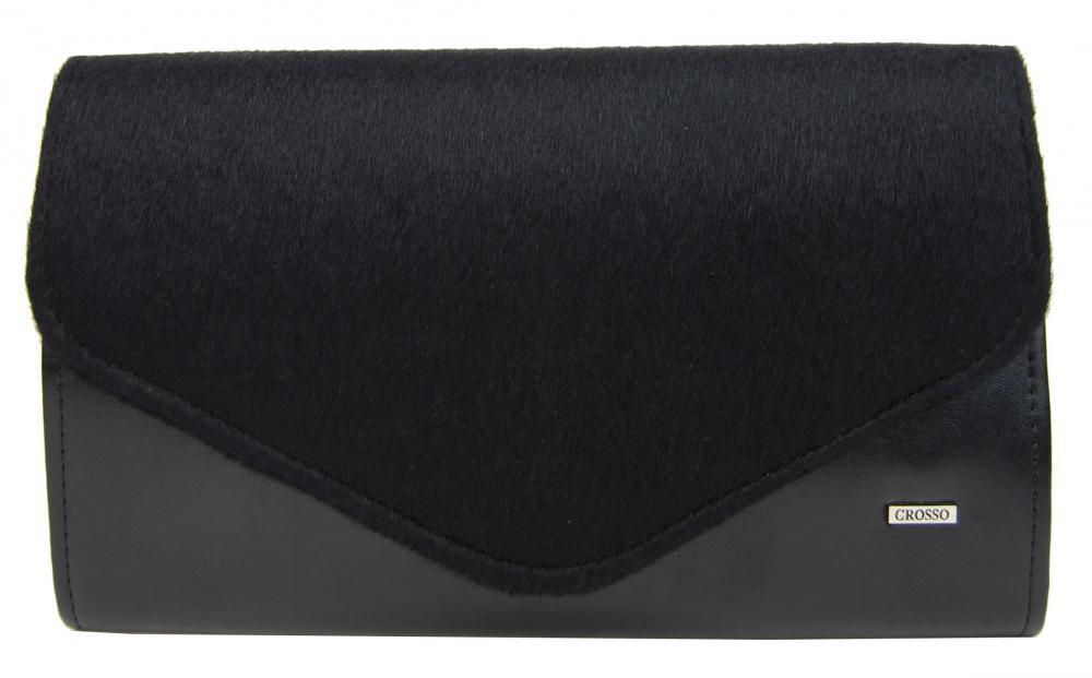 Čierna matná chlpatá spoločenská clutch kabelka SP102 GROSSO