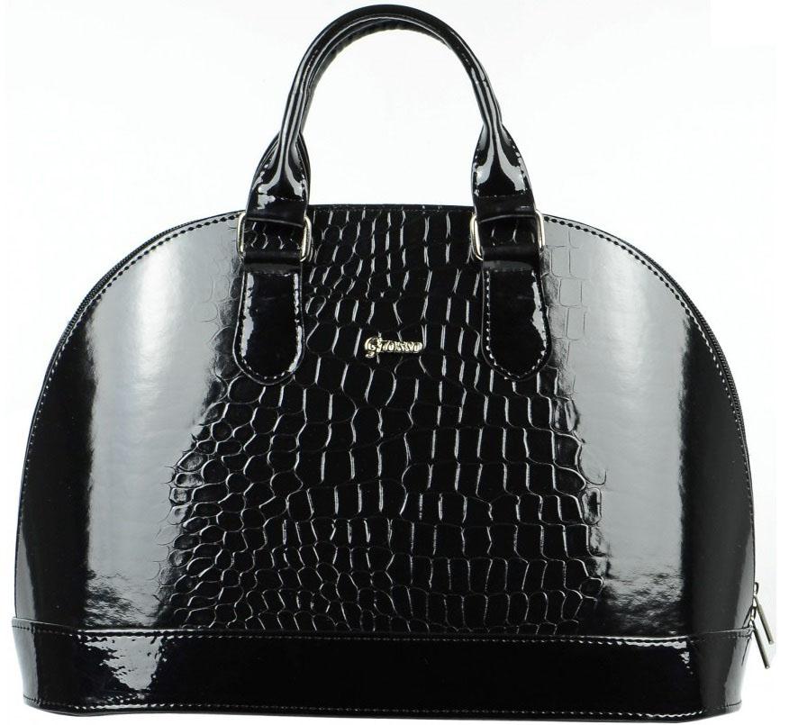Elegantná čierna lakovaná kabelka s krokodílím vzorom S24 GROSSO