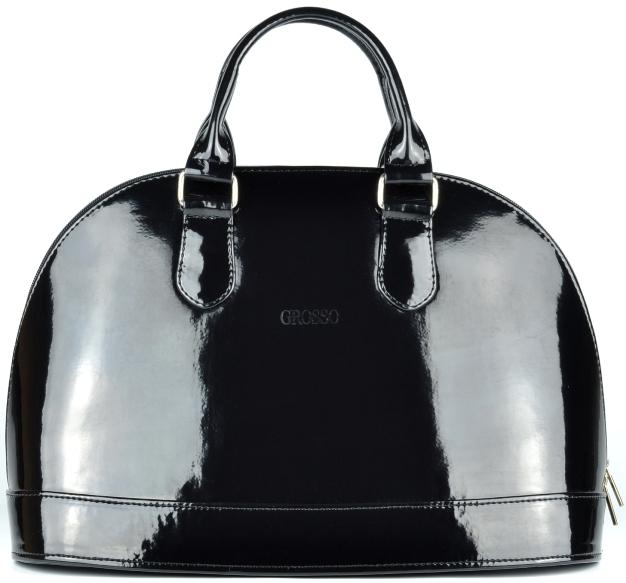 Elegantní černá hladká lakovaná kabelka Grosso S24