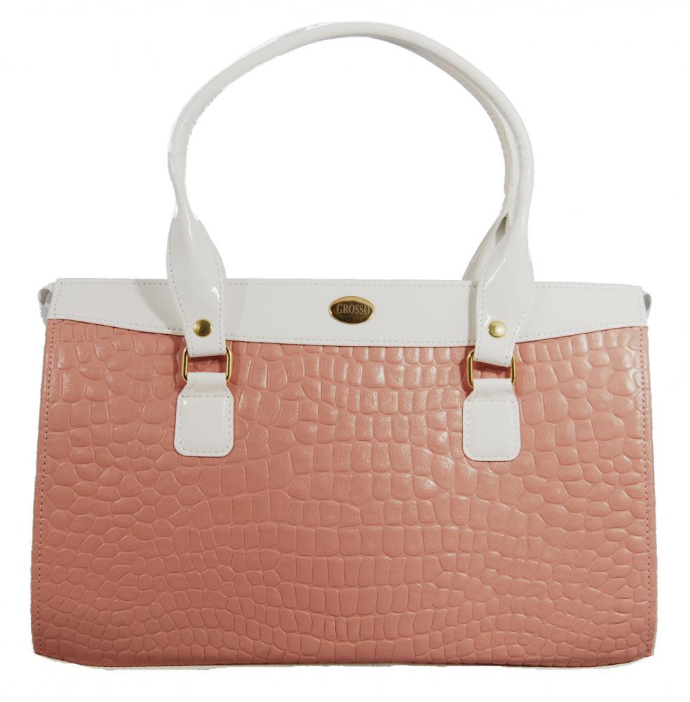 Jemná růžovo bílá kroko kabelka na rameno S305 GROSSO