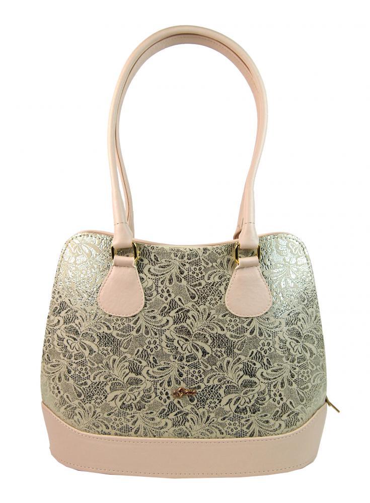 Béžovo-zlatá elegantní kabelka přes rameno S324 GROSSO